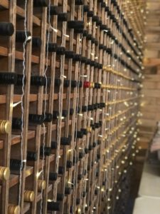 Wall of Wine in the Barrel Room